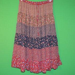 Orvis Womens L Floral Geometric Maxi Skirt